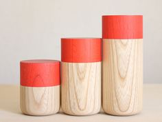 paint just the tops of natural wood japanese tea canisters
