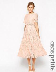 Asos - ASOS PETITE Lace Crop Top Midi Prom Dress - Nude -…