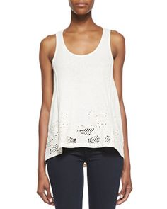Sophia Draped Eyelet Tank by French Connection