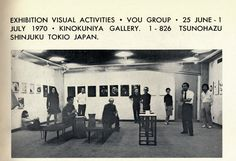 EXHIBITION VISUAL ACTIVITIES・VOU GROUP 1970・KINOKUNIYA GALLERY・TOKIO JAPAN, in the center Kansuke Yamamoto and Katue Kitasono, published in VOU n.124. 第28回VOU形象展 昭和45年 東京 紀伊國屋画廊 中央奥に山本悍右 その左前に北園克衛