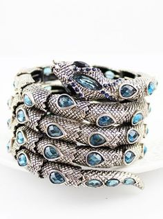 Silver Blue Gemstone Coiled Snake Bracelet
