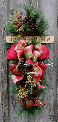christmas wreath christmas swag holiday door wreath sleigh bells woodland christmas swag country rustic christmas - Christmas Swag Decorations