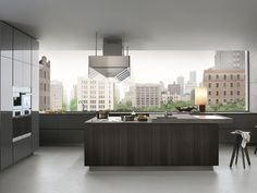 Lacquered wooden kitchen with island ARTEX by Varenna by Poliform | design Paolo Piva