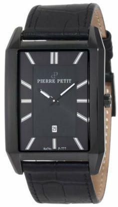 Pierre Petit Men's P-777B Serie Paris Black PVD Rectangular Leather Date Watch Pierre Petit. $316.25