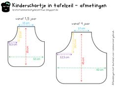 Patroon peuter - en kinderschort - Pattern apron for toddlers / kids Sewing For Kids, Baby Sewing, Diy For Kids, Toddler Apron, Kids Apron, Sewing Hacks, Sewing Crafts, Sewing Projects, Sewing Aprons