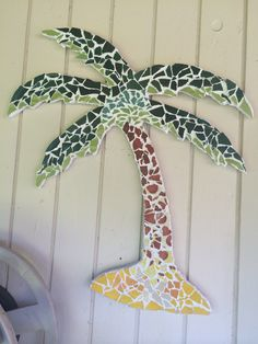 My Diy Mosaic Palm Tree Finished And Hanging On Wall