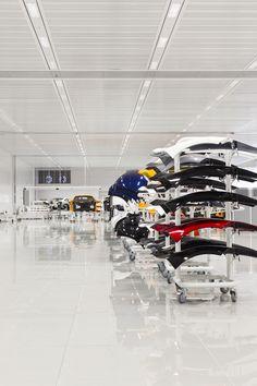 The McLaren Production Centre Car Museum, Automotive Photography, Light Project, Media Center, Architecture, Centre, Plants, Garage, Lighting