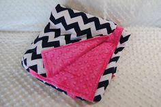 Navy and Pink Chevron Crib bedding Blanket by TheAmberRoseEmporium, $30.00