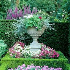 Garden urns have appeared in the formal garden setting since the early Greek & R. Garden urns have Garden Urns, Garden Planters, Garden Bed, Container Plants, Container Gardening, Gardening Tips, Beautiful Gardens, Beautiful Flowers, Landscape Design