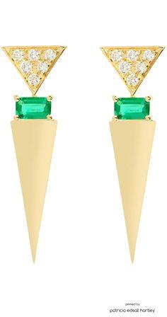 Nikos Koulis Geometric Diamond & Emerald V Drop Earrings