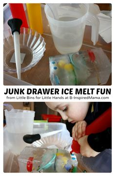 Simple Science for Kids - Junk Drawer Ice Melt Fun at B-Inspired Mama - #kids #learning #science #binspiredmama #kbn