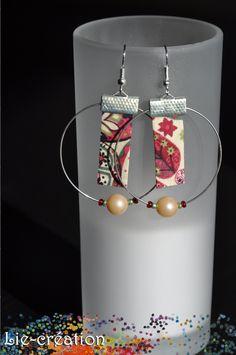 Boucles d'oreilles créoles tissu liberty // Lie : Boucles d'oreille par lie-creation