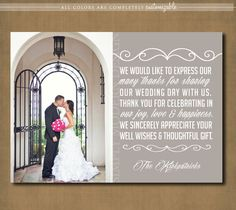 wedding thank you card, multiple photos, PRINTABLE