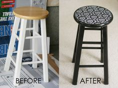 Mod Podge Barstools! This is a great way to add a splash to old dated barstools. Fun fabric and Mod Podge make these stools stand out.