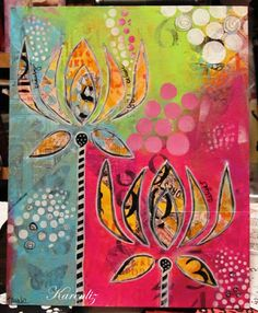 "It's Time for Tea and Art http://karenlizhenderson.blogspot.com  -- using the Balzer Designs ""Corn Flower"" stencil."