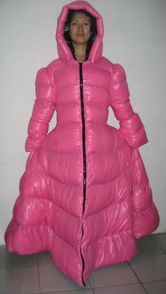 Neu Wet-Look Glanz Nylon Daunen Kleid Winterkleid maßgeschneiderte M - 3XL