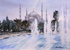 Watercolours by Anita Bentley   The Blue Mosque, Istanbul, Turkey, 26 x 36 cms POA  Painted mid 2014