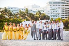 Yellow and grey summer wedding on the beach