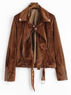 Plain Asymmetric Zipper Faux Suede Jacket - Brown L