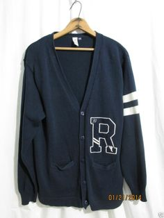 VINTAGE Varsity LETTERMEN Cardigan Sweater Top Mens M Blue White R 1939 Track  #Vintage #Antique #Retro