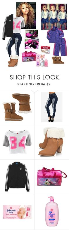 """Taking baby to grandma's house"" by azalea15 ❤ liked on Polyvore featuring adidas, H&M, UGG Australia, adidas Originals and Huggies"