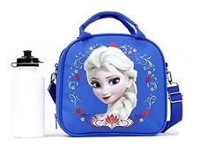 Disney Frozen Lunch Box Carry Bag with Shoulder Strap and Water Bottle (DARK BLUE) @ niftywarehouse.com #NiftyWarehouse #Frozen #FrozenMovie #Animated #Movies #Kids