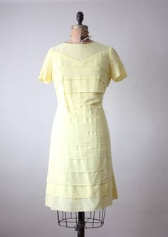 1960s yellow tiered dress