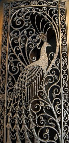 A door on the Palmer House, Chicago. I would love for this to be the doors to an outdoor pool area sitting. Peacock Art, Peacock Design, Peacock Images, Peacock Feathers, Gate Design, Door Design, Chicago Poster, Palmer House, Wrought Iron Gates