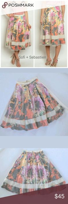 🌹🌷🌸 Spring Floral midi full skirt tulle overlay Sorry, NO TRADES  Price firm unless bundled   Save money and bundle!  Save 10 percent on any bundle of 2 or more items! Sofi + Sebastien  Skirts Midi