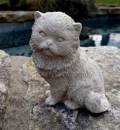 Cute sitting Persian cat statue, concrete garden decor, cat memorial statue, concrete cat statues, memorial for cat