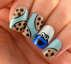 Beautiful Nail Designs To Finish Your Wardrobe – Your Beautiful Nails Disney Acrylic Nails, Disney Nails, Best Acrylic Nails, Crazy Nails, Funky Nails, Cute Nails, Cookie Monster Nails, Nail Art For Kids, Cute Nail Art Designs