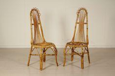 Coppia di sedie; bambù. Buone condizioni, presenta piccoli segni di usura.