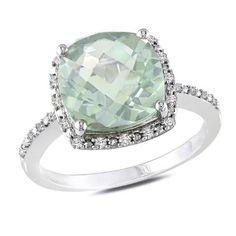 Cushion-Cut Green Quartz andDiamond Ring