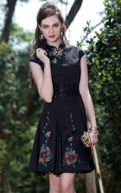 2012 Chinese Style Retro Formal Black Party Dresses for Women