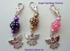 Angel Handbag Charms with Crystal Beads and Glass by Sandrasgems4u, $10.00