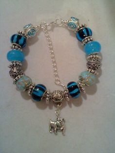 Dark and Light Blue European Bracelet with by CullensEuropeanCharm, $30.00