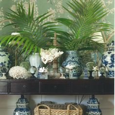 """One of my signatures is antique Chinese blue and white ceramics- urns, vases, cachepots, lamps, ginger jars, and bowls- they add so much to any room!"" #summerdecor #tips by @Mark Van Der Voort Van Der Voort D Sikes at danielledrollins.com"