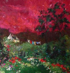 Washing Line with Raspberry Sky - Moy Mackay Gallery