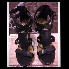 "Reposh Black Wedges Super Cute NWOT Wedges. 4.5"" they were too high for me. Sz.6.5 Michael Antonio Shoes Wedges"