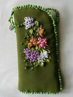 Eye glass case with ribbon flowers
