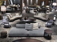 How To Quickly And Easily Create A Living Room Furniture Layout? Furniture Showroom, Lounge Furniture, Luxury Furniture, Furniture Design, Sofa Layout, Modern Bedroom Design, Interior Design Living Room, Living Room Designs, Gebogenes Sofa
