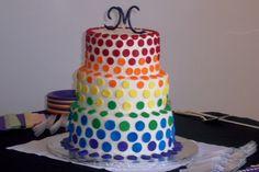 rainbow wedding cakes | Rainbow wedding cake — Round Wedding Cakes.. Like the idea of the polka dots!