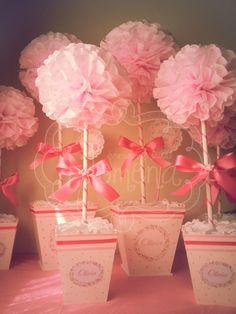 Topiario 45cm en tonos rosas, rosa dior y fucsia