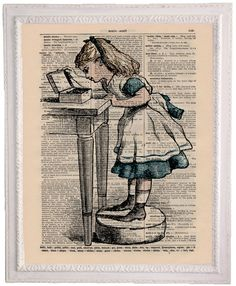 Alice In Wonderland Dictionary Art Print Vintage Cottage Style (3B14). $9.00, via Etsy.