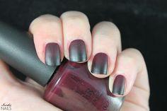 Red and black matte gradient. OPI - We'll Always Have Paris / China Glaze - Liquid Leather / Cesars - Matte Top Coat.