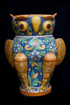 Touch of Sicily | Ceramic owl umbrella stand