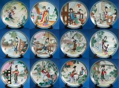 Set Of 12 BEAUTIES of the RED MANSION Imperial Jingdezhen Porcelain Plates China