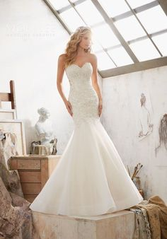Crystal Beaded Embroidery Over Chantilly Lace With Organza Skirt
