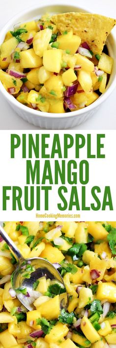 This healthy Pineapple Mango Fruit Salsa Recipe has amazing flavor & is perfect as a topping for fish tacos, shrimp fajitas, or a simple chicken dinner. Or, grab some tortilla chips to turn it into a dip for your next party. Only a few ingredients & quick to make!