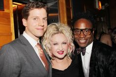 All dressed up and looking fine, Kinky Boots stars Stark Sands and Billy Porter pose with Cyndi Lauper.